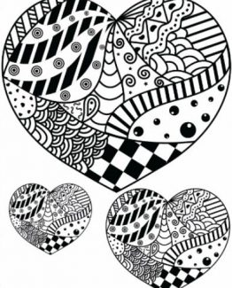 Zentangle Heart Design Daily Planner - 8.5 x 11, 380 pages with sections for date, time, notes, lists and doodles! DiaryJournalBook.com