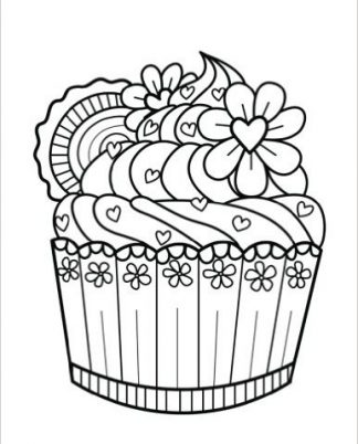 Zentangle Cupcake Flower Hearts Daily Planner - 8.5 x 11, 380 pages with sections for date, time, notes, lists and doodles! DiaryJournalBook.com