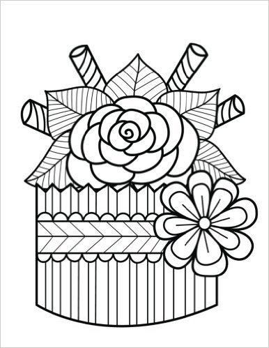 Zentangle Cupcake Rose Daily Planner - 8.5 x 11, 380 pages with sections for date, time, notes, lists and doodles! DiaryJournalBook.com
