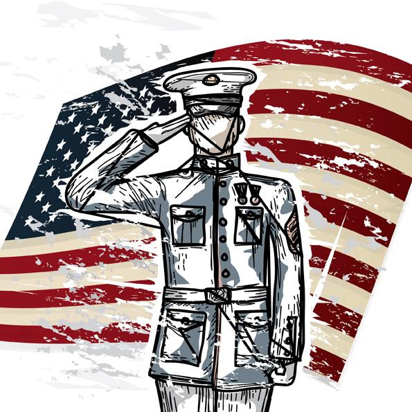 America U.S. Flag Military Marines DiaryJournalBook.com